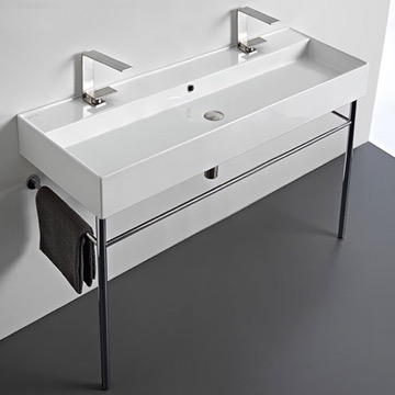 Large Double Ceramic Console Sink and Polished Chrome Stand
